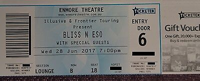 Bliss N Eso Ticket Sydney **BEST SEAT! LOUNGE 2ND ROW IN THE CENTRE!**