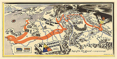 1945 WWII Military War Map 4th Armored Division, U.S. Third Army History Poster