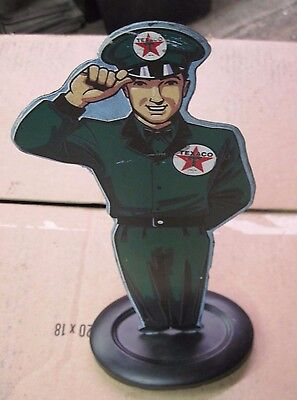 "Texaco Gas Station Service  Attendant Tin Statuette  - 13"" Tall"