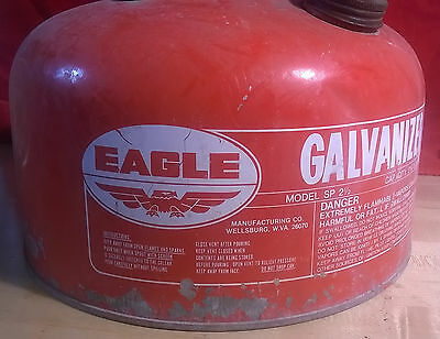 Vintage Eagle 2 1/2 Gallon Metal Gas Can with original spout