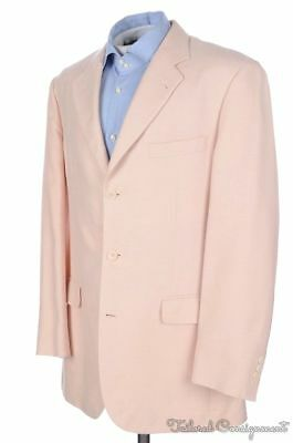 BROOKS BROTHERS Madison Salmon Beige SILK LINEN Blazer Sport Coat Jacket - 42  L