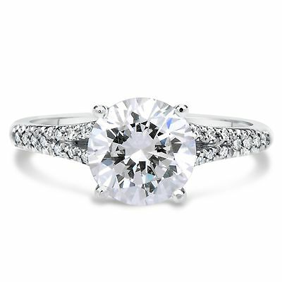 2.51 Ct Round Cut Si1 Diamond Solitaire Engagement Ring 14K White Gold
