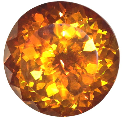 12.37ct - 13mm Natural Extra Fine Deep Orange Gold Sphalerite - Round Portuguese