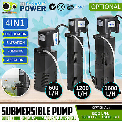 Aqua Aquarium Filter Pump Submersible Pond Marine Water Pump 600L 1200L 1600L