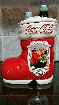 Coca-Cola Cookie Jar Canister Ceramic Christmas Holiday Santa Boot Kitchen Decor