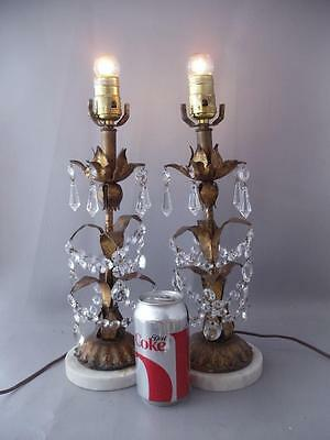 Antique Vtg Italian Gold Metal Tole Table Crystal Chandelier Table Lamp Pair