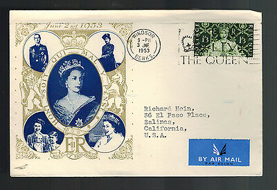 1953 England First Day Cover Queen Elizabeth 2 coronation FDC to USA QE2 FDC  8