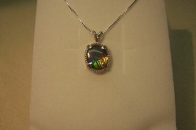 """AMMOLITE PENDANT BEAUTIFUL COLORS 12X10mm  SET IN STERLING W/ 18"""" S.S.CHAIN"""