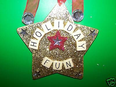 Holiday Fun Star with Glitter Christmas Tree Ornament