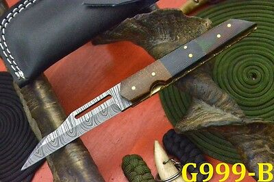 Custom Damascus Folding Knife Handmade With G-10 Micarta Handle (G999-B)