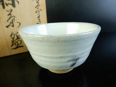 H1425: Japanese Tara-ware White glaze TEA BOWL Green tea tool w/box