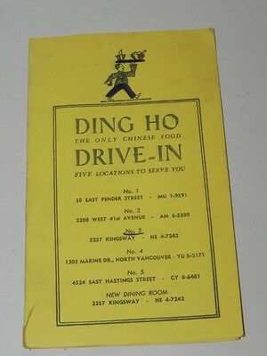 Vintage 1950s Chinese Restaurant Menu DING HO Drive-In Vancouver BC