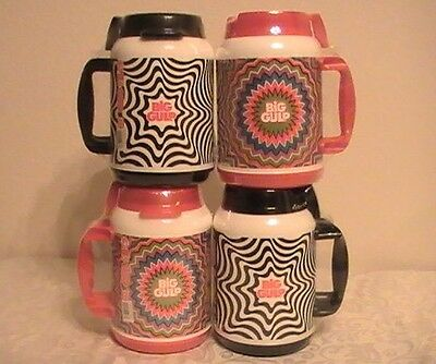 Set of 4 - Big Gulp 7 Eleven Drink More Whirley 52 oz Cold Beverage Travel Mug!