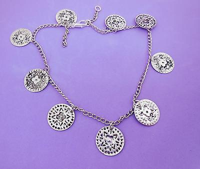 Anklet, Gypsy Style Coin Beads, Silvertone Curb Chain, Adjustable - 7990