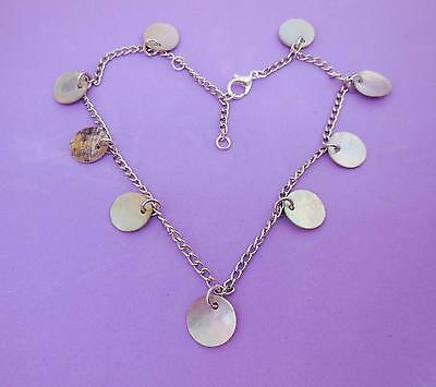 Anklet, Mother Of Pearl Shell Beads, Silvertone Curb Chain, Adjustable - 7989