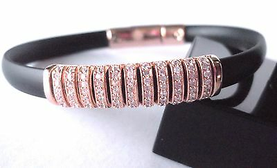 Sterling Silver Rose Gold Vermeil Crystal Set Silicon Bangle Bracelet Cuff