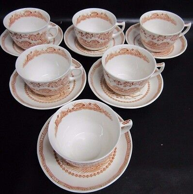 Furnivals Brown Quail - 6 X Large Breakfast Cups & Saucers