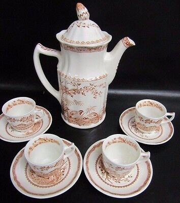 Furnivals Brown Quail - Coffee Pot With 4 X Demitasse Cups & Saucers