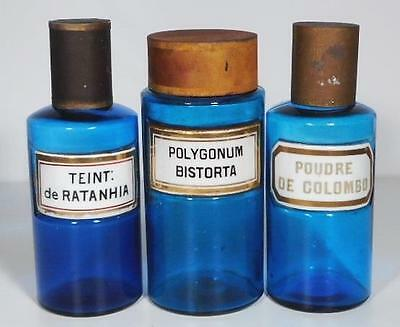 19c. Three Blue French Apothecary Pharmacy Jars w/Paris Porcelain Labels