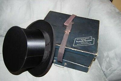 Vintage Collapsible Tophat and Box Top hat Magic Steam Folding Magicians Antique