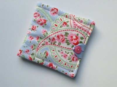 needlecase fabric blue/pink floral Felt page inside Gift Present Needles Book