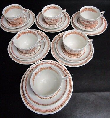 Furnivals Brown Quail - 6 X Cups, Saucers & Side Plates