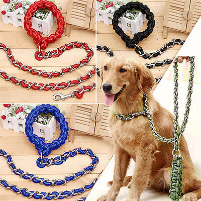 Pet Anti Bite Large Dog Long Leash Training Chain Collars Strong Traction Rope