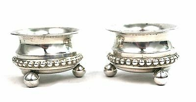 Antique Victorian Sterling Silver Salt Cellar Pair 3 Footed Birmingham 1897