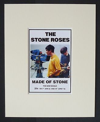 "STONE ROSES - MINI RECORD AD POSTER. - ""MADE OF STONE"" - MOUNTED 8"" x 10""  - NEW"