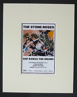 "STONE ROSES - MINI RECORD AD POSTER. - READY TO FRAME - MOUNTED 8"" x 10""  - NEW"