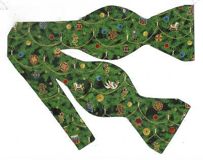 (1) Christmas Tree Decorations Self-tie Bow tie - Holiday Ornaments on Pine Tree