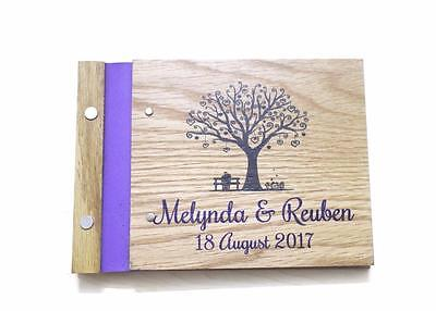 Personalised customized wooden guest book unique rustic style classic wedding a5