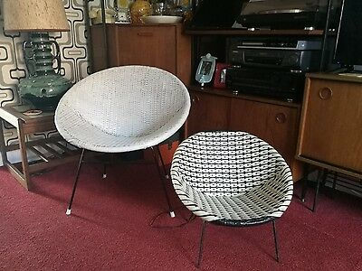 vintage plastic wicker chairs 60's retro adult and child's atomic