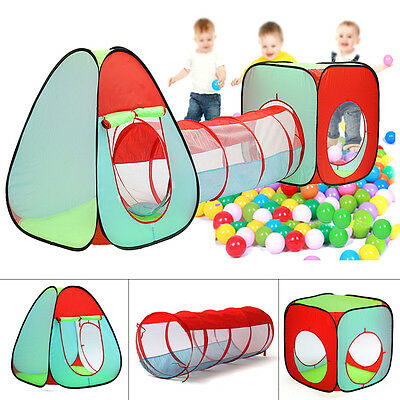 AU 3 in1 Toddler Tunnel Pop Up Play Tent Indoor Outdoor Cubby Playhouse Kid Gift