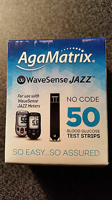 50 AgaMatrix WAVESENSE JAZZ BLOOD GLUCOSE TEST STRIPS