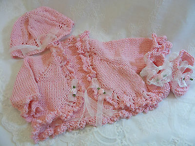 """Reborn Baby Doll Pink Cotton Outfit Cardigan Set  Hand Knitted 16""""-19"""" Newborn"""