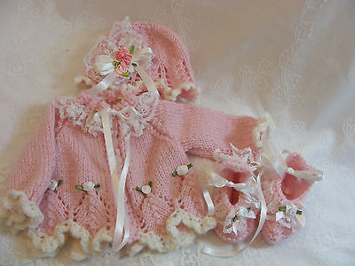 """Reborn Baby Doll Pink Wool Outfit Cardigan Set  Hand Knitted 16""""-19"""" Newborn"""