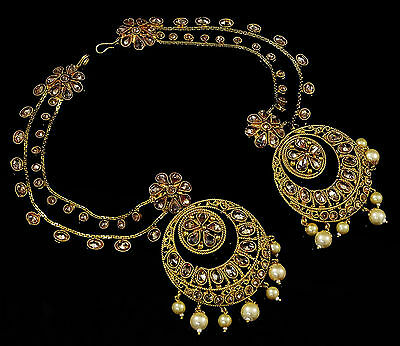 Traditional Goldtone 2 PC Necklace Set Bollywood Women Wedding Jewelry-BSE78A