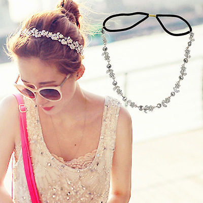 Hot Women Elastic Rhinestone Chain Jewelry Head Band Hair Wedding Floral Elegant