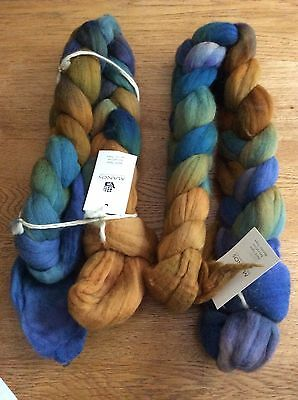 2x100g skeins Manos Del Uruguay Hand Dyed merino tops for spinning