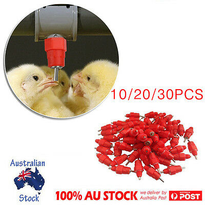 10/20pcs Chicken Water Feeder Cups Poultry Nipple Drinker Waterer Duck Hen Screw