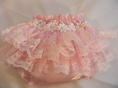 Reborn Baby Girl Pink Frilly Lace Daisy Romany/gypsy Style Knickers  All Sizes