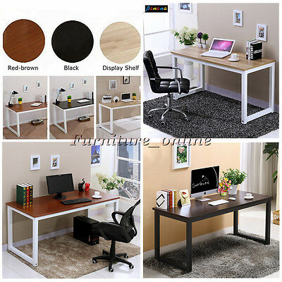 Wooden Computer PC Home Office Desk / Writing Study Table Metal Legs and Chairs