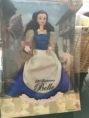 Disney Beauty And The Beast 10Th Anniversary Belle Barbie Doll Mib