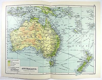 Original 1909 Physical Map of Australia and New Zealand by John Bartholomew