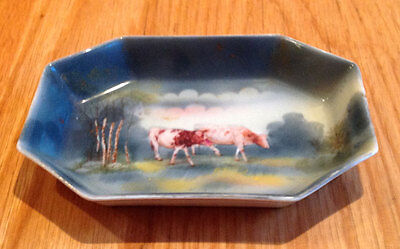 Vintage Fine Bone China Octagonal Pin Dish With Hand Painted Cattle Landscape