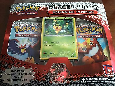 B&W Emerging Powers 3-Booster Blister Pack Pansage Promo Pokemon TCG 3 Pack RARE