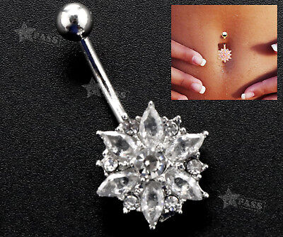Belly Bars Flower Navel Button Ring Studs Body Piercing Silver Surgical Steel