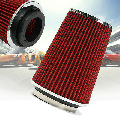 4'' RED Truck Long Performance High Flow Cold Air Intake Cone Dry Filter HOT