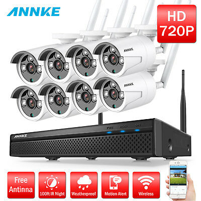 ANNKE 8CH 1080P WLAN überwachungsset Video Kamera Funk NVR Wireless System Metal